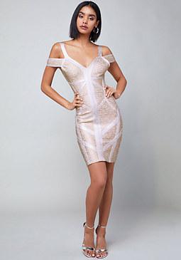 Bebe Banded Cold Shoulder Dress
