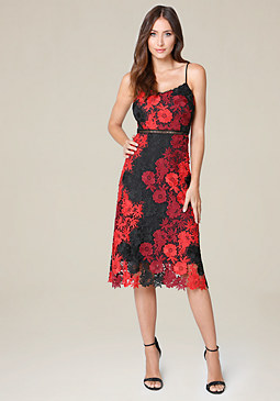 bebe Crochet Lace Midi Dress