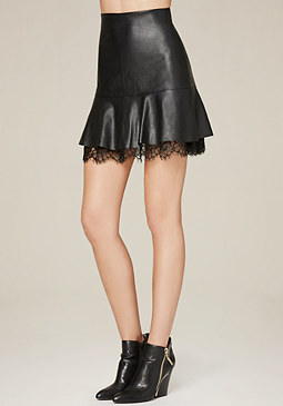 bebe Faux Leather Flip Skirt
