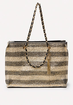 bebe Roxie Coated Straw Tote