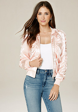 bebe Shirred Satin Bomber Jacket