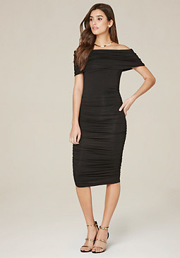bebe Draped Off Shoulder Dress