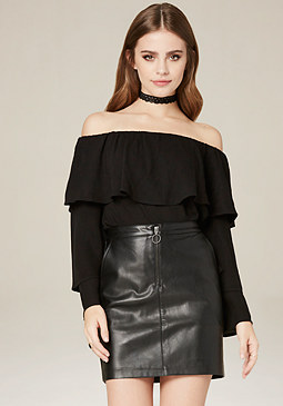bebe Tiered Off Shoulder Top