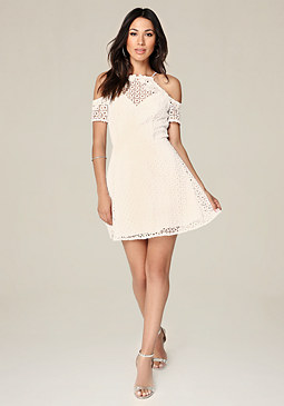 bebe Kylie Lace Flared Dress