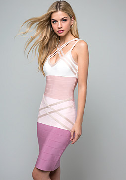 bebe Crossover Bandage Dress