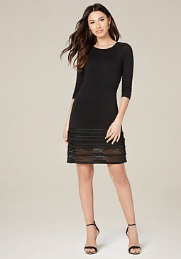 bebe Crochet Fringe Dress