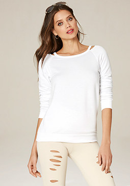 bebe Slit Neck Sweatshirt