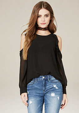 bebe Ruffled Georgette Top