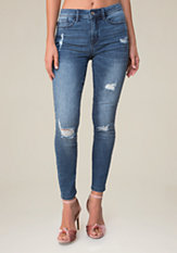 bebe Destructed Hourglass Jeans