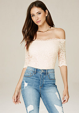 bebe Lace Off Shoulder Bodysuit