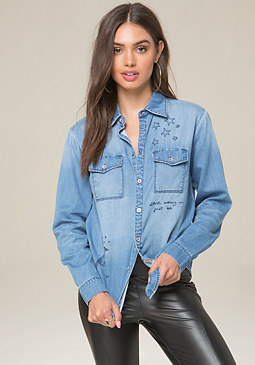 bebe Cosmos Denim Shirt