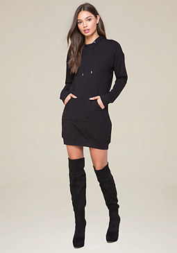 bebe Applique Logo Hoodie Dress