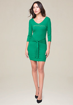 bebe Logo Tie Front Dress