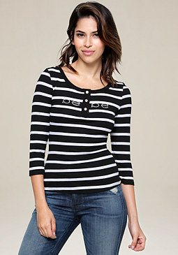 bebe Logo Sophie Striped Top