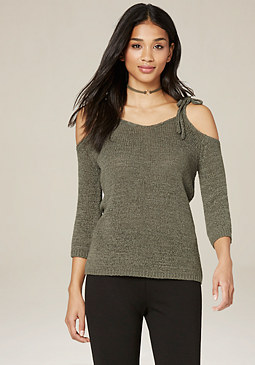 bebe Tie Shoulder Sweater