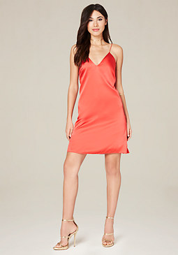 bebe Mara Silk Slip Mini Dress