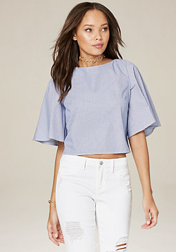 bebe Flare Sleeve V-Back Top