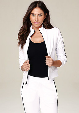 bebe Contrast Piping Zip Jacket