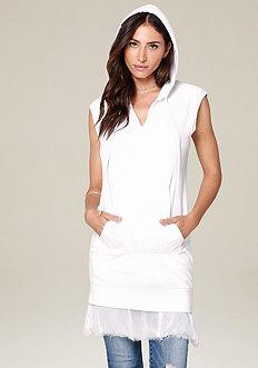 Chiffon Hem Hooded Dress