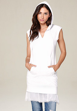 bebe Chiffon Hem Hooded Dress