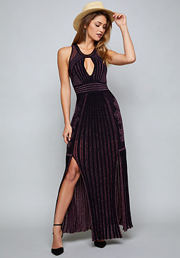 bebe Blakely Metallic Knit Gown