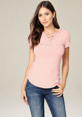 bebe Logo Side Lace Up Top