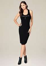 bebe Logo Racerback Tank Dress