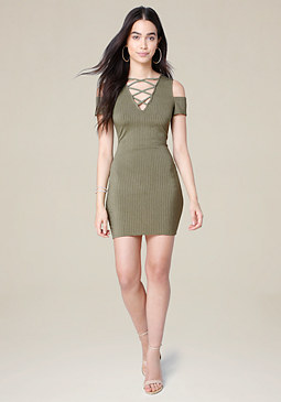 bebe Skylar Ribbed Dress