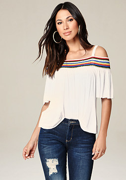 bebe Crochet Trim Top