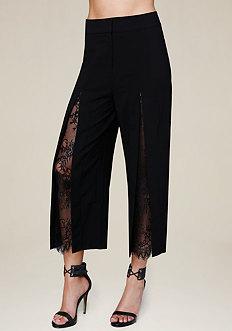 Lace Inset Crop Pants