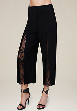 bebe Lace Inset Crop Pants