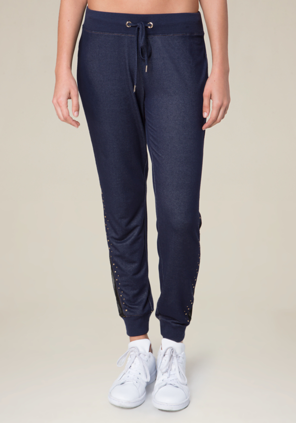 Sybil Denim Terry Pants at bebe in Sherman Oaks, CA | Tuggl