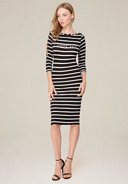 bebe Logo Striped Boatneck Dress