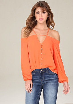 bebe Karen Off Shoulder Top