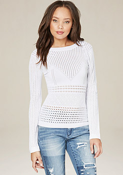 bebe Mix Pointelle Sweater Top