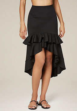bebe Ruffled Hi-Lo Skirt