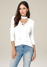 bebe Ribbed Lace Up Top