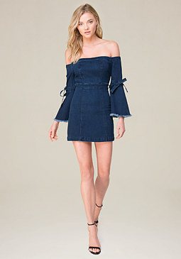 bebe Off Shoulder Denim Dress