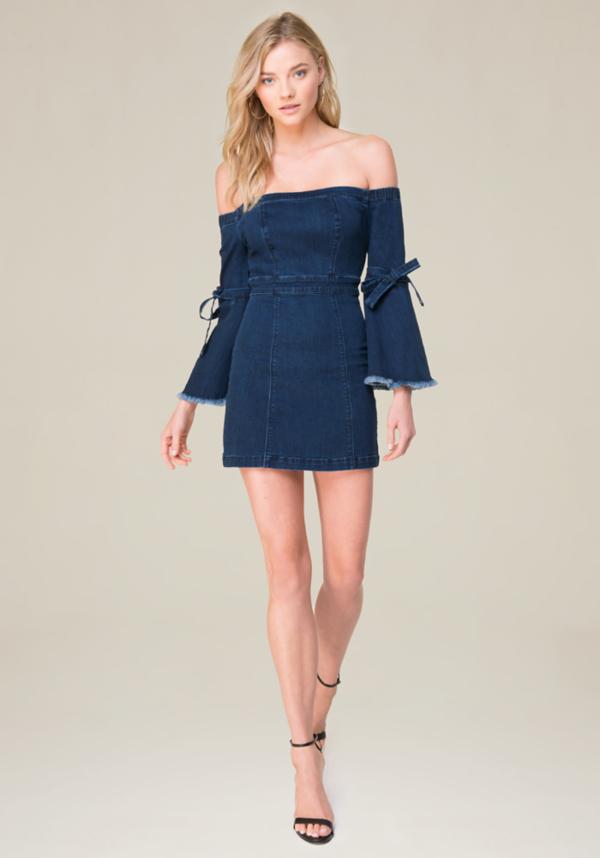 Off Shoulder Denim Dress at bebe in Sherman Oaks, CA | Tuggl
