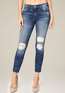 bebe Torn Raw Edge Skinny Jeans
