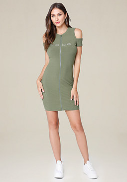 bebe Logo Zip Up Dress