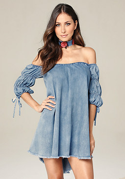 bebe Royal Denim Day Dress
