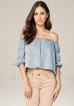 bebe Royal Denim Crop Top