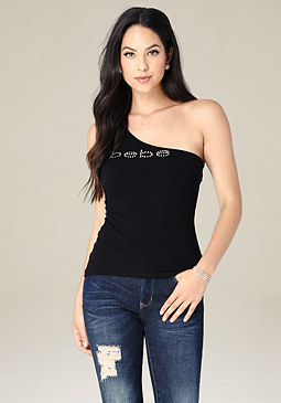 bebe Logo Solid One Shoulder Top