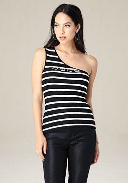bebe Logo One Shoulder Top