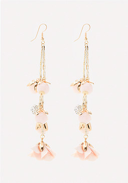 bebe Flower & Bead Long Earrings