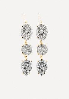 Druzy Triple Drop Earrings
