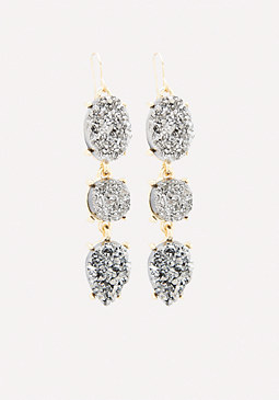 bebe Druzy Triple Drop Earrings