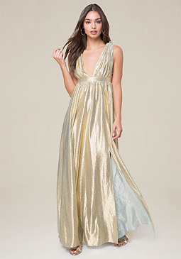 bebe Double V-Neck Metallic Gown