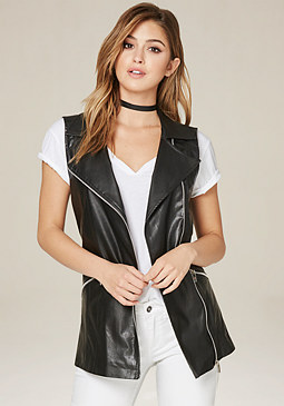 bebe Faux Leather Zip Long Vest